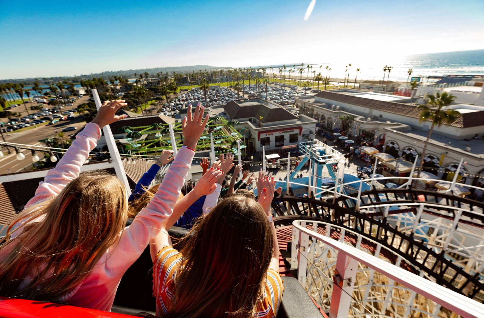 Giant Dipper Roller Coaster overlooking Mission Beach at Belmont Park
